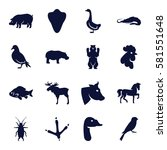 animals icons set. set of 16... | Shutterstock .eps vector #581551648