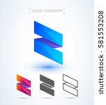 vector abstract ribbon logo.... | Shutterstock .eps vector #581553208