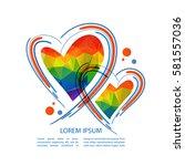 rainbow hearts isolated on... | Shutterstock .eps vector #581557036