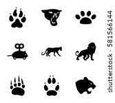 cat icons set. set of 9 cat... | Shutterstock .eps vector #581566144