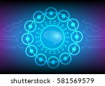 abstract digital and technology ... | Shutterstock .eps vector #581569579