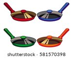 iron skillet with a glass cover.... | Shutterstock .eps vector #581570398
