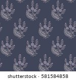print with oriental flowers.... | Shutterstock .eps vector #581584858