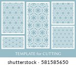 decorative panels set for laser ... | Shutterstock .eps vector #581585650