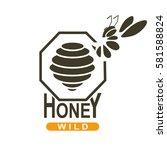 honey label  logo  badge  icon. ... | Shutterstock .eps vector #581588824