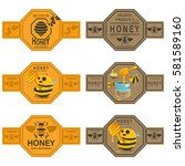 Honey Labels Set With Bees ...