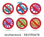 stop viruses emblem set in