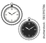 vintage pocket watch with roman ... | Shutterstock .eps vector #581593786