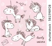 set with doodle unicorns | Shutterstock .eps vector #581598928