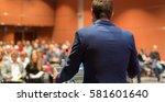 speaker giving a talk on... | Shutterstock . vector #581601640