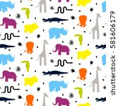 colorful zoo animal silhouettes ... | Shutterstock .eps vector #581606179