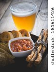 beer and snacks for the party ..... | Shutterstock . vector #581611426