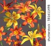 vibrant floral pattern blossom... | Shutterstock . vector #581611498
