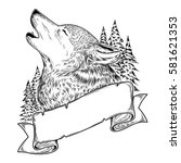 illustration of a howling wolf ... | Shutterstock . vector #581621353