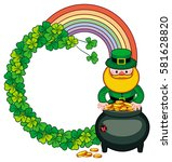 round frame with shamrock ... | Shutterstock .eps vector #581628820