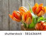 Bouquet Of Orange Tulips On...
