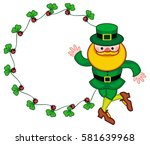 round frame with shamrock and... | Shutterstock .eps vector #581639968