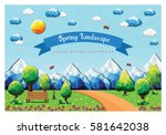 spring landscape background... | Shutterstock .eps vector #581642038