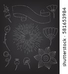 set of floral elements drawn in ... | Shutterstock .eps vector #581653984