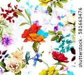 seamless pattern of wild rose ... | Shutterstock .eps vector #581663476