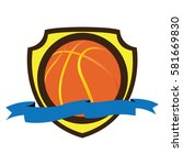 isolated basketball emblem on a ... | Shutterstock .eps vector #581669830