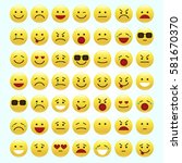 set of emoticons  icon pack ... | Shutterstock .eps vector #581670370