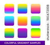 Vector set of colorful gradient samples. Multicolored square plates with tropical and rasta colors isolated on white.