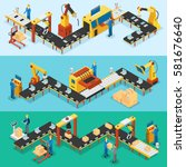 isometric industrial factory... | Shutterstock .eps vector #581676640