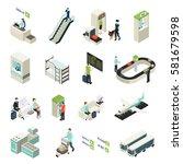 isometric airport elements set...   Shutterstock .eps vector #581679598