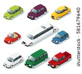 isometric car icons set of... | Shutterstock .eps vector #581679640