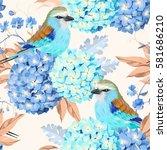 seamless vintage hydrangea | Shutterstock .eps vector #581686210