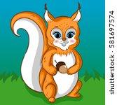 squirrel character with acorn... | Shutterstock .eps vector #581697574