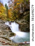 Stock photo waterfall of the cube selva de irati navarra 581698279