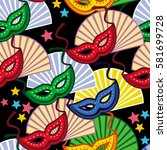 seamless pattern with carnival... | Shutterstock .eps vector #581699728