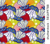seamless pattern with carnival... | Shutterstock .eps vector #581699788