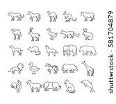 simple animal line icon set... | Shutterstock .eps vector #581704879