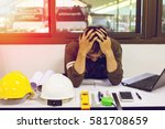 the man sitting stress with... | Shutterstock . vector #581708659