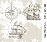 hand drawn vector seamless sea... | Shutterstock .eps vector #581712010