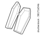 coffin icon. outline... | Shutterstock .eps vector #581716546