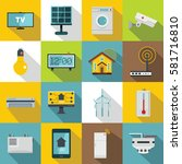 smart home house icons set.... | Shutterstock .eps vector #581716810