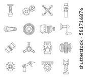 motor icons set. line... | Shutterstock .eps vector #581716876