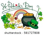 holiday label with shamrock ... | Shutterstock . vector #581727808