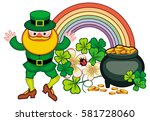 holiday label with shamrock ... | Shutterstock . vector #581728060