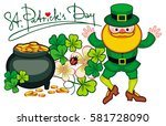holiday label with shamrock ... | Shutterstock . vector #581728090