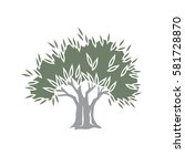 vector olive tree logo icon... | Shutterstock .eps vector #581728870