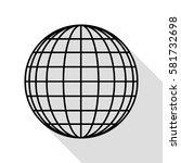 earth globe sign. black icon... | Shutterstock .eps vector #581732698