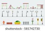 kids playground.kindergarten... | Shutterstock .eps vector #581742730