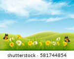 beautiful nature landscape... | Shutterstock .eps vector #581744854