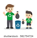 father teaching his son to put... | Shutterstock .eps vector #581754724