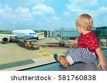 little baby boy waiting... | Shutterstock . vector #581760838